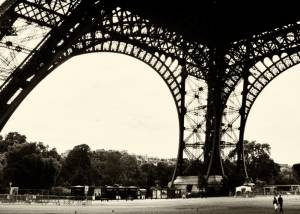 Paris - Tour Eiffel - Noir et Blanc - Vintage - Façon 1900 - panoramique