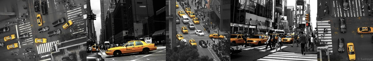 New Yor Taxis Jaunes panoramique