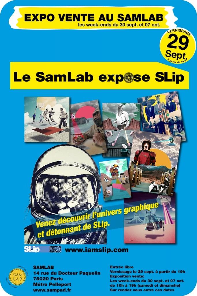 affiche expo vente SLip au SamLab